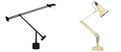 Anglepoise (Herbert Terry Ltd // Georges Cawardine, 1932) ; Tizio ; Richard Sapper, 1972.