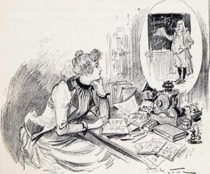 Albert Robida; « Les cours par téléphonoscope», La Vie électrique, Paris, Librairie Illustrée, [1893],in-texte p. 25.