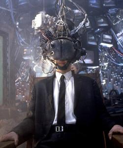 Keanu Reeves se fait hacker le cerveau par un dauphin dans Johnny Mnemonic (Robert Longo, 1995), adapté d'une nouvelle de William Gibson.