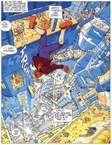 John Difool tombe dans la ville-puits. L'Incal (1981), voyage SF perché, illustré par Moëbius et scénarisé par Alexandro Jodorowski, représente bien l'ouverture apporté à la science-fition par la New Wave.