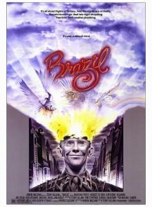 Évasion intérieure pour un anti-héros oppressé, affiche pour le film Brazil (1985), une dystopie bureaucratique de Terry Gilliam