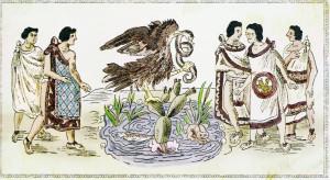Illustration de la découverte de l'endroit indiqué par le dieu, dans la Historia de las Indias de Nueva España, islas e tierra firme, du dominicain Diego Duran